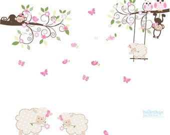 Lamb Nursery Branch Wall Decal