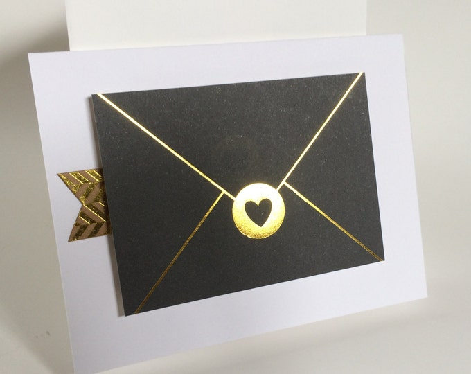Sending A Note, Elegant, Gold Embellished Card, made on recycled paper, comes with envelope and seal