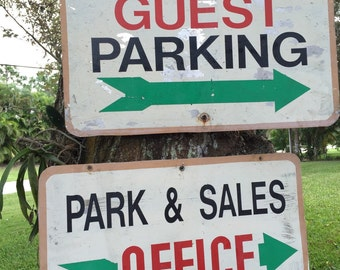 Vintage WOOD SIGNS Guest Parking, Sales Office, Wooden Signage Chippy Sign at Modern Logic