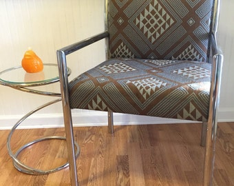 CHROME ARM CHAIR  Tubular Steel High Point N C, Mid Century Modern, Modern Upholstered Milo Baughman Style at Modern Logic
