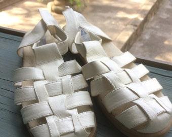 Vintage style Leather Beacon Euroflex Wedge Sandals size 9