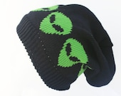 Handmade  Alien Hat ,Alien Stocking Cap Accessory Alien Beanie 9 inch  or Slouchy 11 inches knitted in sustainable Cotton and Bamboo