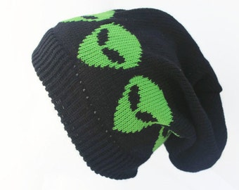 Handmade  Alien Hat - Fashion Accessory - Alien Beanie 9 inch - Slouchy 11 inches -  knitted in Sustainable Cotton and Bamboo - Alien Head