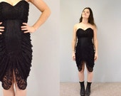 Bodycon dress rocker lace strapless sweetheart sexy vintage 90s grunge vamp chic goth ruched neckline small cocktail dress hipster