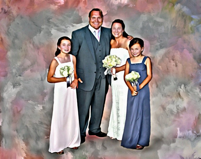 Custom Family Portrait Wedding or Anniversary or Engagement Oil Painting Canvas 16x20