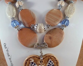 Cowgirl Necklace Set Western Statement - Chunky Brown Jasper - Blue Coral - Ceramic Texas Bluebonnet Heart Pendant