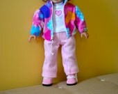 18 Inch Doll Three Piece Pink Fleece Pants, Pink Print Fleece Jacket and Long Sleeve White Machine Embroidered Tshirt by SEWSWEETDAISY