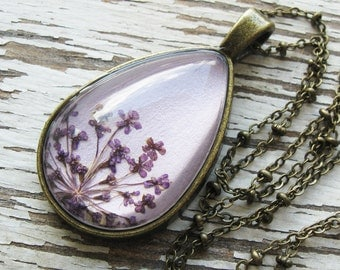 Real Pressed Flower Necklace - Lavender Queen Anne's Lace Botanical Teardrop Necklace