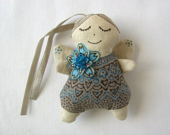 Linen angel with light blue flower - linen ornament decorated with azure silk flower from handpainted silk