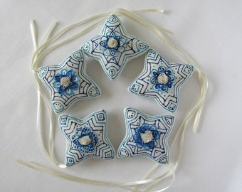5 hand decorated linen and silk star ornaments - home decor