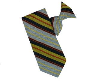 Vintage 1970's Stripe Clip On Tie, Polyester Neckyie by Snapper