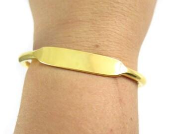 Brass Bangle Bracelet - Long & Wide Rectangle - Engraving Options