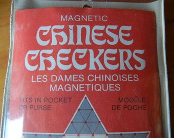 Vintage Magnetic Chinese Checkers Travel Game unused 1977 Made in USA Whitehall games inc. Childrens pocket game FUN