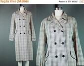 40% OFF 60s Plaid Coat Vintage 1960s Rain Jacket Water Repellent Lightweight Rain Springmaid Aqua-shed L XL