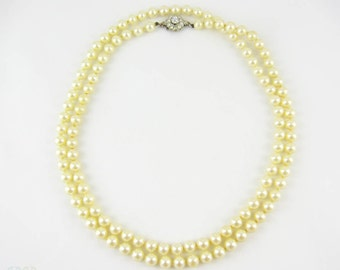 Vintage Costume Faux Pearl Necklace with Floral Rhinestone Clasp, Long Pearl Bead Necklace, 84 cm / 33 inches.