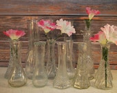 Gorgeous Collection of Fifteen, Vintage Clear Glass Vases