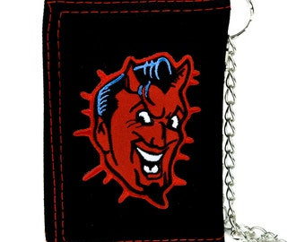 Classic Psychobilly Red Devil Black Tri-fold Wallet with Chain