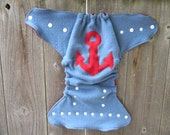 Upcycled Wool Nappy Cover Diaper Wrap Cloth Diaper Cover One Size Fits Most Blue With Anchor  Applique/ Red