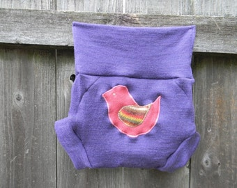 Upcycled Merino  Wool Soaker Cover Diaper Cover With Added Doubler Purple With Birdy Applique LARGE 12-24M Kidsgogreen