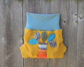 Upcycled  Wool  Soaker Cover Diaper Cover With Added Doubler Blue / Yellow With Tree Applique SMALL 3-6 M Kidsgogreen