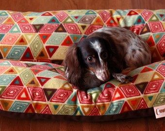 Dog Bed, MEDIUM BUNBED Bright Colorful Southwestern Fleece, Dachshund Dog Bed, Burrow Bed, Hot Dog Bed, Bun Bed, Geometric Dog Bed