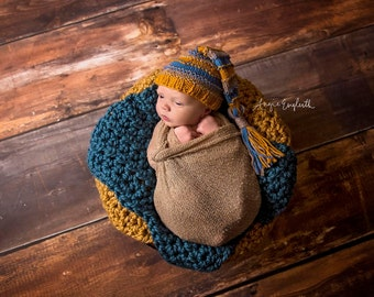 SET Chunky Thunder Blue and Goldenrod Yellow Cozy Newborn Baby Blanket Photo Props