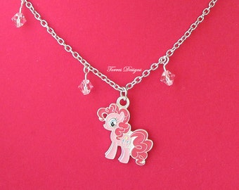 My Little Pony FIM Pinkie Pie Pendant Necklace Custom made with Swarovski Crystals OOAK One of a Kind by TorresDesigns Ready To Ship