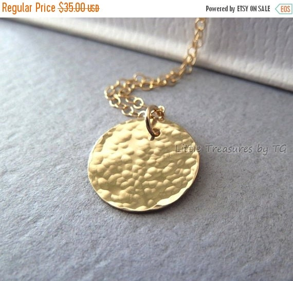 """SALE Personalized Initial gold necklace. Hammered or Plain 1/2"""" disc. Gold necklace. Neutral. Bridesmaid jewelry gift. Layering gold necklac"""