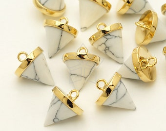 PD-1219-GD / 2 Pcs - Cone Pendulum Pendant, Howlite Gemstone with 16k Gold Plated over Brass Cao Bail / 8.8mm x 11mm