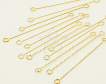 FD-108-GD / 30 Pcs - 0.3mm Very Thin Double Sided Eye Pins, 16K Gold Plated over Stainless Steel / 25mm
