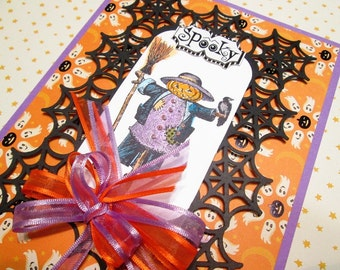 Handmade Halloween Card - hand watercolored Spooky Scarecrow on lacy die-cut spiderweb mat