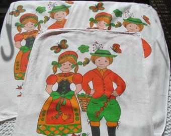 Vintage Kitchen Dish Towel Set of 3 Print German Danish Children Decorative Towels Lot Orange Green White