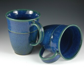 One - 12 oz  Royal Blue / Green Ceramic Coffee Mug - Stoneware pottery