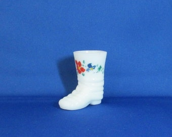 White Glass Boot Tooth Pick Holder with Handpainted Flowers, Red and blue flowers with green leaves on the front