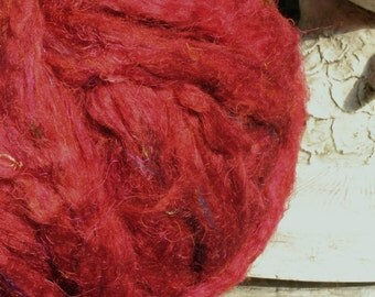 Pulled Sari Silk, Carded Roving, Silk Waste, Blending Fiber, Now Comes In Solid Colors!  Lipstick Red Colorway, Great Price