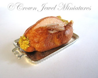 1:12 Cornbread Stuffed Turkey on a Solid Pewter Serving Tray by IGMA Artisan Robin Brady-Boxwell - Crown Jewel Miniatures