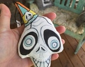 OOAK Original Handmade Whimsical Halloween Skull Ornament For The Creepy Cute Folk Art Collector Handpainted