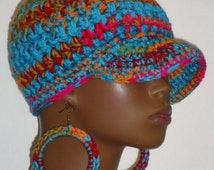 Chunky Crochet Baseball Cap with Hoop Earrings by Razonda Lee Razondalee to Ready to Ship Assorted Patterns