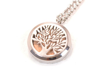 Tree Of Life Aromatherapy Necklace 316L Stainless Steel Locket With 3 Handmade Leather Pads
