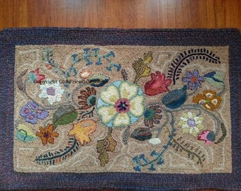 Superior NEW PATTERN Deco Garden Hooked Rug Pattern On Linen Foundation