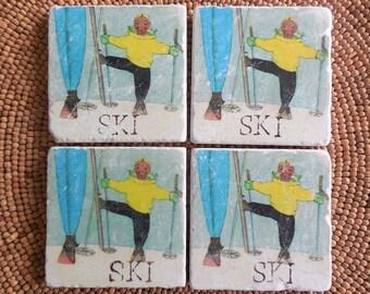 "Marble Stone Coaster Set - Vintage Ski - ""Little Ski Gal"" - Ski Decor - Ski Art - Decorative Tile - Coaster - Ski"