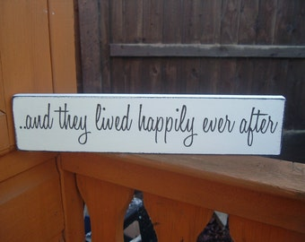 and they lived happily ever after wedding sign wooden plaque