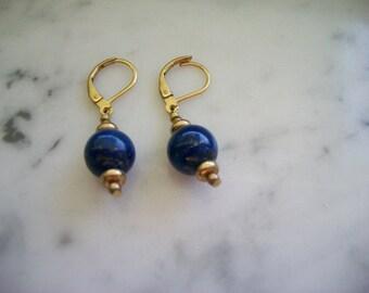 Lapis Lever Back Dangle Earrings