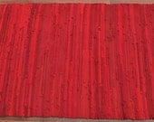 Handwoven Rug - 27x 57 woven from Red Recycled T Shirts - Washable & Reversible