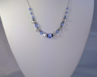 Light sapphire Swarovski crystal necklace with just a touch of black.
