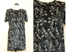 90s Black Crushed Velvet Floral Dress Large XL Plus Size Babydoll Dress Gypsy Boho Stevie Nicks