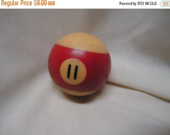 Independence Day Sale Vintage Pool Ball 11 number eleven  striped red billiard, collectable
