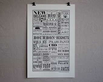 New Orleans, Louisiana Letterpress Wall Art Print Poster Gift