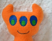 Handmade Stuffed Orange Horned Monster - Fleece, Child Friendly machine washable softie plush