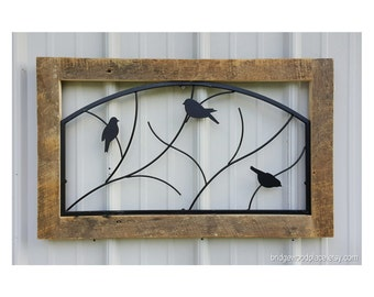 Rustic Wall Hanging, Reclaimed Barnwood & Metal Wall Decor, Birds on Branches Wall Art, Farmhouse Wall Decor, Country Chic Wall Hanging